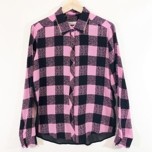Sandro Paris Silk Blouse Pink Black Check Print